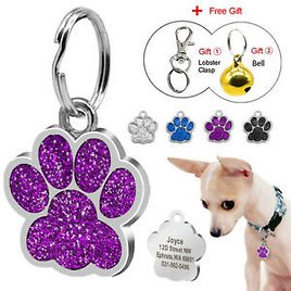 Personalized Dog Tags Engraved Puppy Pet ID Name Collar Tag Paw Glitter 4 Colors