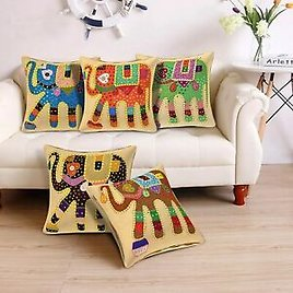 Radhika Handmade Patchwork Cushion Cover Embroidered Decorative Set of 5-16x16in