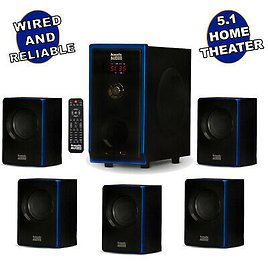 Acoustic Audio 5.1 Bluetooth 6 Speaker System Home Theater Surround Sound NEW 784620027448