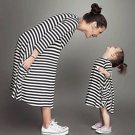 New Mother Daughter Matching Outfit Baby Girls Dress Womens Stripe Kids Clothes