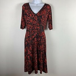 Connected Apparel Womens Dress Sz 10 Red Black Floral V Neck Maxi Length KM61