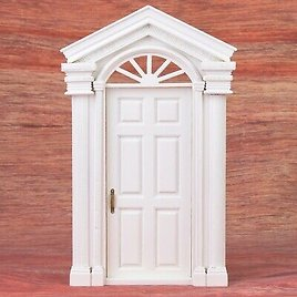 Mini Simulation Wooden DIY Door Furniture For 1:12 Doll House Accessories