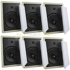 """6 Pack 6.5"""" 2 Way In Wall Speakers 50W Rms Home Theater Mtx Audio Musica602W 715442630547"""
