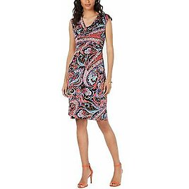 Connected Apparel Womens Sheath Dress Black US Size 6 Cowl-Neck Printed $69 294