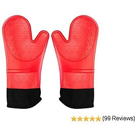 Idudu Extra Long 14.7 Inch Oven Mitts, Heat Resistant Silicone Pot Holders with Quilted Liner, Soft Flexible Oven Gloves 1 Pair, Kitchen Cooking Baking Mitts