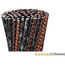 200 Pieces Halloween Paper Straws Black and Orange Striped Dot Print Paper Drinking Straws with Pumpkin Bat Spider Web Skeleton Print for Halloween Party Supplies (Color Set 2)