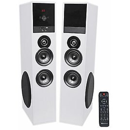 """Rockville TM80W White Powered Home Theater Tower Speakers 8"""" Sub/Bluetooth/USB"""