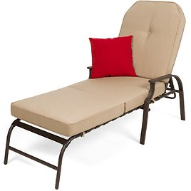 Outdoor Chaise Lounge Recliner Chair Furniture w/ 2 Cushions