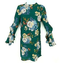 Bebop Clothing Dress Womens S Green Multicolor Floral Frilled Sleeves Crew Neck
