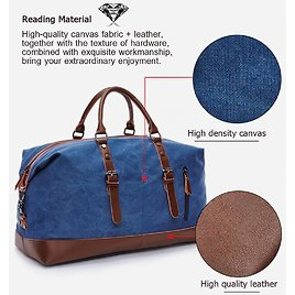 DELUXE Mens Duffel Canvas Bags Overnight Travel Bags Large Capacity Luggage
