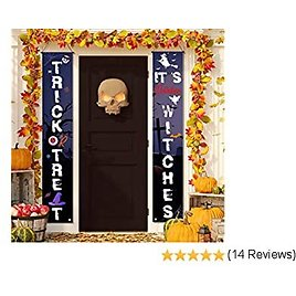 Phaxcoo Halloween Decorations Outdoor Trick or Treat & It's October Witches Halloween Signs for Front Door or Indoor Porch Garden Witches Home Party Home Decor Halloween Welcome Decorative Signs
