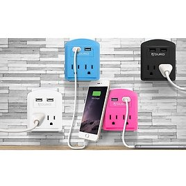 2-Pack Mini Surge Protector w/ 2 Outlets & 2 USB Ports