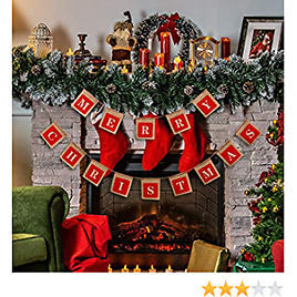 Merry Christmas Banners, Holiday Christmas Decoration Burlap Banner, Christmas Sign Hangings for Windows, Door Entry, Office, Fireplace, Wall