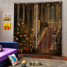 Christmas Decor Curtains 2 Panels Set, Window Drapes for Living Room Bedroom