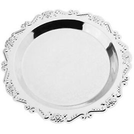 Round Fruit Platter Silver Metal Pastry Cake Plate Dessert Serving Tray