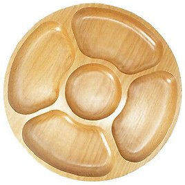 Round Wooden Serving Platter Divided Dessert Snack Candy Dish Healthy Plate