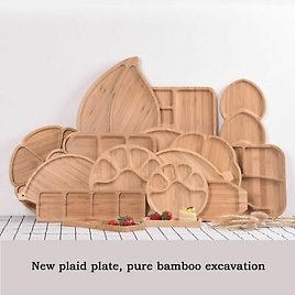 Wood Plates Food Preservation Tray Bamboo Bowls Plate Solid Fruit Dishes