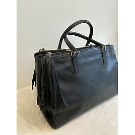 Anya Hindmarch Black Pimlico / Ebury Leather Top Handle Tote Bag With Long Strap