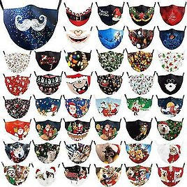 Unisex Christmas 3d Funny Mouth Mark Cover Facemask Washable Hip Hop Party Magic