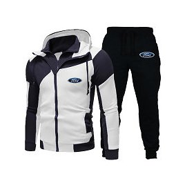 Ford Hoodie Set Fashion Double Zipper Hoodie Mens Tracksuit Sports Wear Pullover Sweatershirt Suits/Sets Hoodies+Pants   Wish