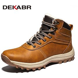US $29.46 49% OFF|DEKABR Winter Warm Men Boots Genuine Leather Fur Plus Men Snow Boots Handmade Waterproof Working Ankle Boots High Top Men Shoes|Basic Boots| - AliExpress