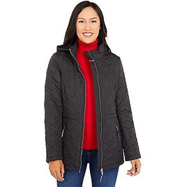 Double Diamond Quilted Hooded Jacket