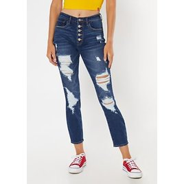 Dark Wash Button Fly Ripped Mom Jeans