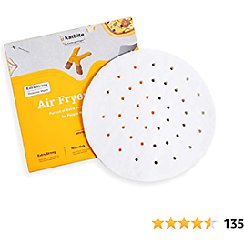 Katbite 120Pcs 9/7.5 Inch Heavy Duty Air Fryer Liners Parchment Paper, Round Perforated Parchment Paper for Air Fryer, Extra Strong, No Burn, No Free(9 Inch)