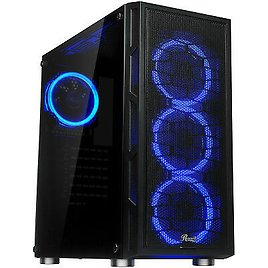 ATX Mid Tower Computer Gaming PC Case, Tempered Glass, Dual Ring Blue LED Fans 840951128589