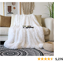 """Decorative Extra Soft Faux Fur Blanket Queen Size 78"""" X 90"""",Solid Reversible Fuzzy Lightweight Long"""