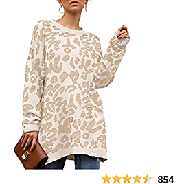 NSQTBA Womens Leopard Print Pullover Oversized Crew Neck Casual Knitted Sweater Tops S-2XL