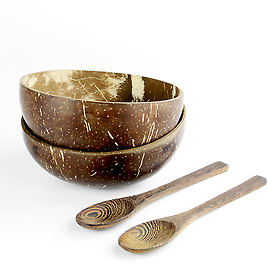 Pack of 2 Coconut Bowls 100% Eco Friendly Sustainable Includes Spoons M&W