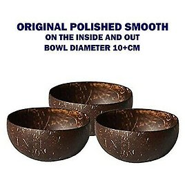 Coconut Bowl Shell ( 3 Bowl ) 100% Natural Handcrafted from Reclaimed 10cm