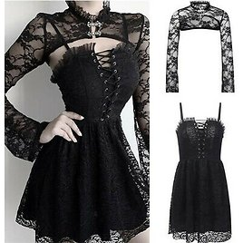Sexy Girls Women Gothic Black Dress Smock Outfits Punk Dress Costume Clothes