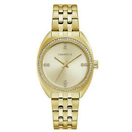 36% Off in Caravelle Women's Watch Crystal Champagne Dial Yellow Gold Bracelet 44L250