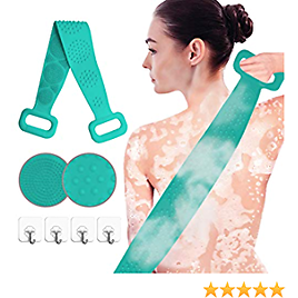 Back Cleaning Bath Strap with 4 Wall Stickers, Silicone Back Cleaning Shower Strap Back Cleaning Bath Strap with Soft Brush Bristles and Massage Dots, Exfoliating Texture Scrubbing Pad