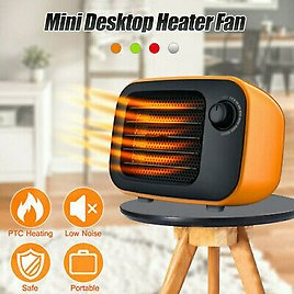 Mini Portable Electric Space Heater Fan Adjustable Thermostat Office Home Room