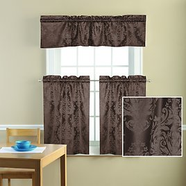 Mainstays Traditional Damask Jacquard Kitchen Curtain Tier and Valance Set