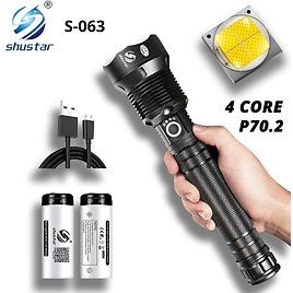 US $8.7 45% OFF Powerful LED Flashlight With XHP 70.2 Lamp Bead Zoomable 3 Lighting Modes LED Torch Support for Mircro Charging Hunting Lamp LED Flashlights  - AliExpress