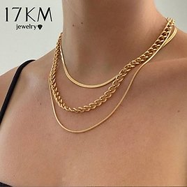 US $1.69 30% OFF 17KM Fashion Multi Layered Snake Chain Necklace For Women Vintage Gold Coin Pearl Choker Sweater Necklace Party Jewelry Gift Chain Necklaces  - AliExpress