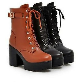 Womens Block Heel Platform Military Ankle Boots Lace Up Buckle Strap Zip Boots B
