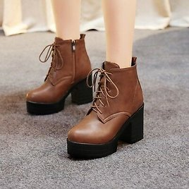 Womens Lace Up Platform Side Zip Combat Ankle Boots High Block Heel Shoes Size