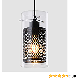 Modern Black Kitchen Light Fixture with Clear Glass and Metal Inner Shade, 1 Light Industrial Mini Pendant Lighting for Kitchen Island Dining Room Farmhouse Cafe Bar Barn