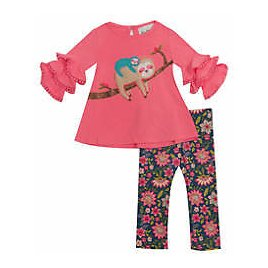 Rare Editions Baby Girls 2 Piece Sloth Top and Leggings Set