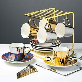Mirror Reflection Cup Coffee Cup Picasso Ceramic Coffee Cup and Saucer Set