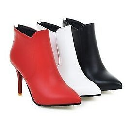 Ladies Pointed Shoes Synthetic Leather High Heels Zip Ankle Boots US Size B118