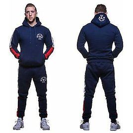 Mens Fleece Full Tracksuit Pullover Hoody And Slim Fit Trousers Gym Wear Casual