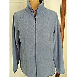 Amazon Essentials Womens Jacket Size L Fleece Blue Zipper Front and Collar Poly