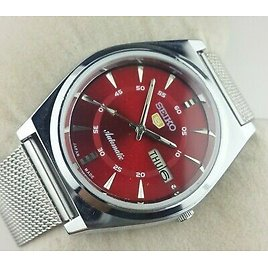 VINTAGE SEIKO 5 EXCELLENT RED DIAL AUTOMATIC JAPAN MEN'S WRIST WATCH MN.