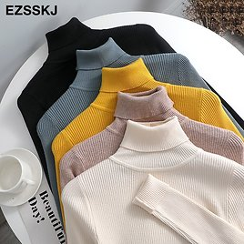 US $10.06 46% OFF|2020 Knitted Women Turtleneck Sweater Pullovers Spring Autumn Basic Women Highneck Sweaters Pullover Slim Female Cheap Top|Pullovers| - AliExpress